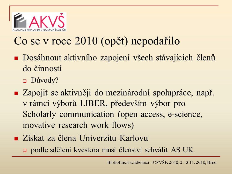 Co se v roce 2010 (opět) nepodařilo Dosáhnout aktivního zapojení všech stávajících členů do činností  Důvody.