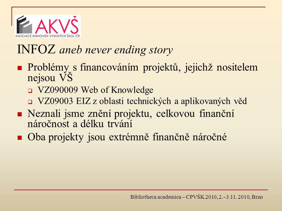 Bibliotheca academica – CPVŠK 2010, 2.–3.11. 2010, Brno INFOZ aneb never ending story Problémy s financováním projektů, jejichž nositelem nejsou VŠ 