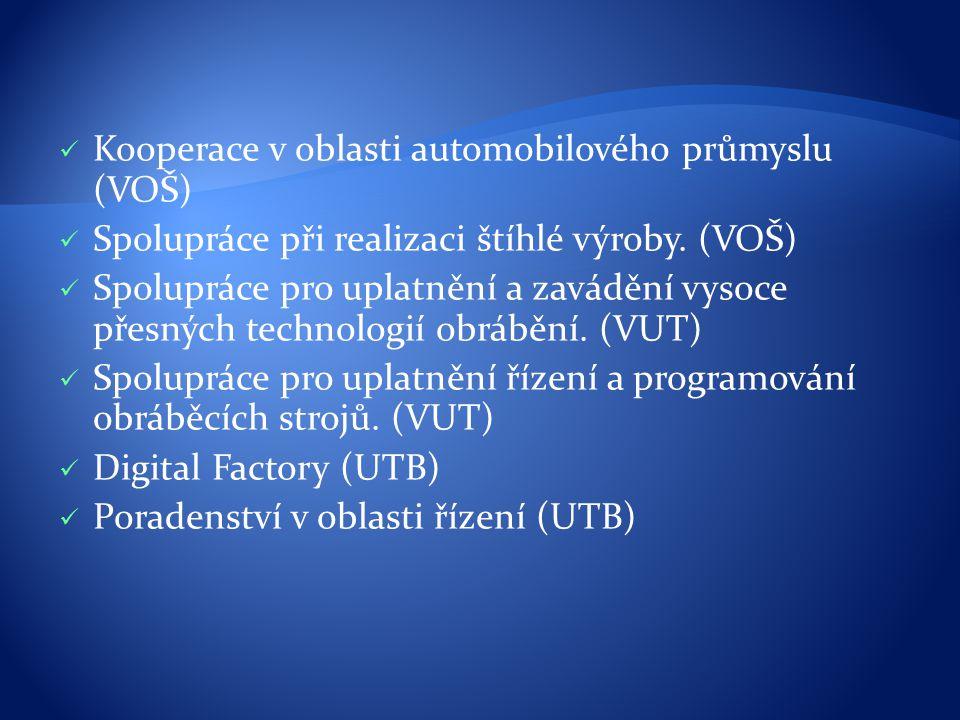 Kooperace v oblasti automobilového průmyslu (VOŠ) Spolupráce při realizaci štíhlé výroby. (VOŠ) Spolupráce pro uplatnění a zavádění vysoce přesných te