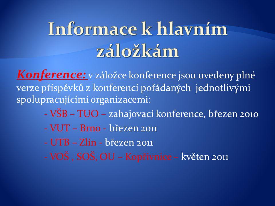 Konference: v záložce konference jsou uvedeny plné verze příspěvků z konferencí pořádaných jednotlivými spolupracujícími organizacemi: - VŠB – TUO – z