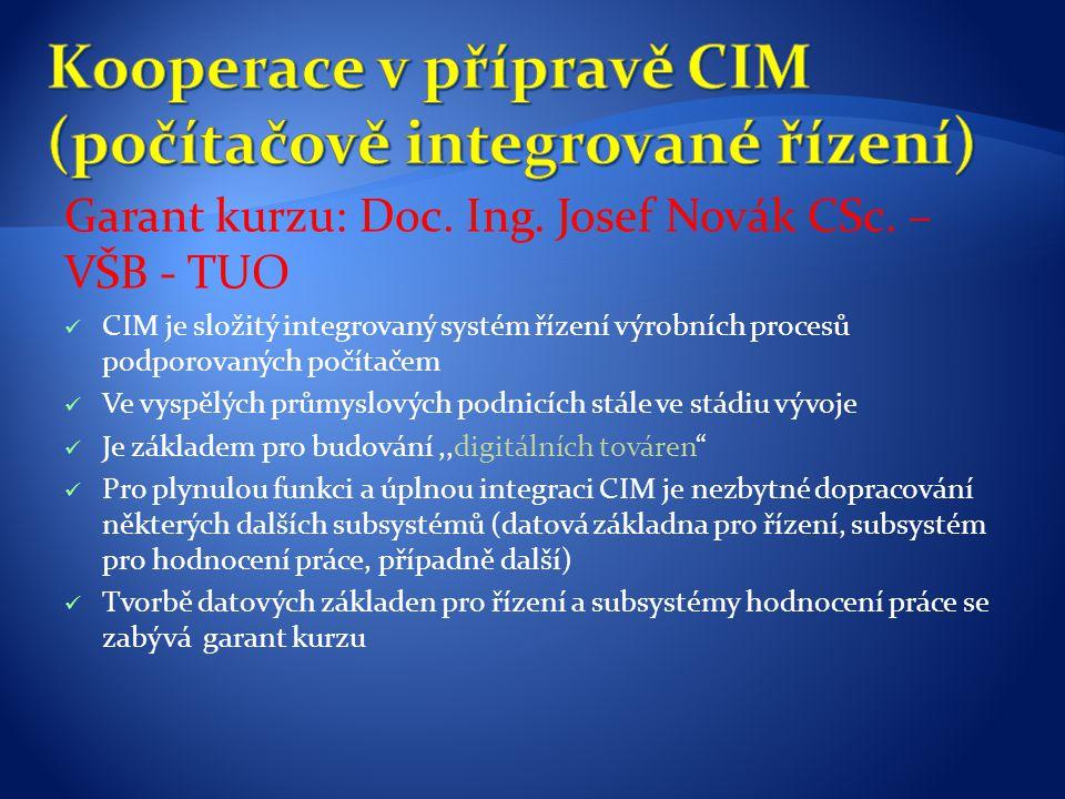 Garant kurzu: Doc. Ing. Josef Novák CSc. – VŠB - TUO CIM je složitý integrovaný systém řízení výrobních procesů podporovaných počítačem Ve vyspělých p