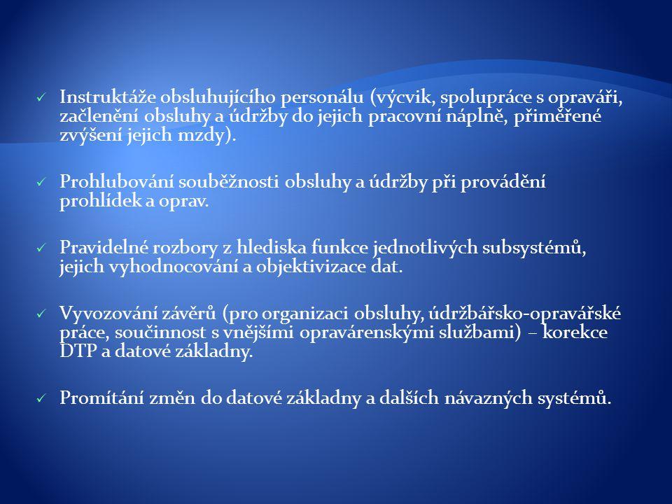 Instruktáže obsluhujícího personálu (výcvik, spolupráce s opraváři, začlenění obsluhy a údržby do jejich pracovní náplně, přiměřené zvýšení jejich mzd