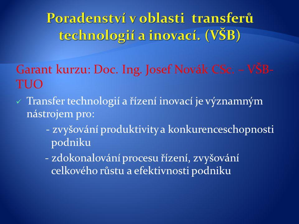 Garant kurzu: Doc. Ing. Josef Novák CSc. – VŠB- TUO Transfer technologií a řízení inovací je významným nástrojem pro: - zvyšování produktivity a konku