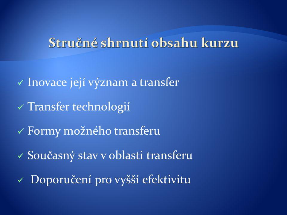 Inovace její význam a transfer Transfer technologií Formy možného transferu Současný stav v oblasti transferu Doporučení pro vyšší efektivitu