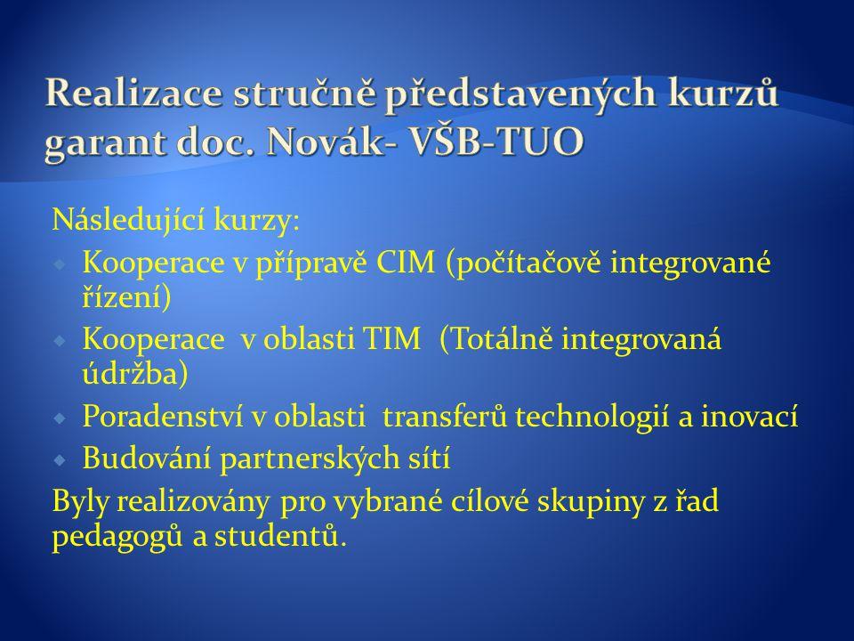 Následující kurzy:  Kooperace v přípravě CIM (počítačově integrované řízení)  Kooperace v oblasti TIM (Totálně integrovaná údržba)  Poradenství v oblasti transferů technologií a inovací  Budování partnerských sítí Byly realizovány pro vybrané cílové skupiny z řad pedagogů a studentů.