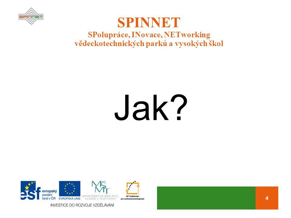 4 SPINNET SPolupráce, INovace, NETworking vědeckotechnických parků a vysokých škol Jak