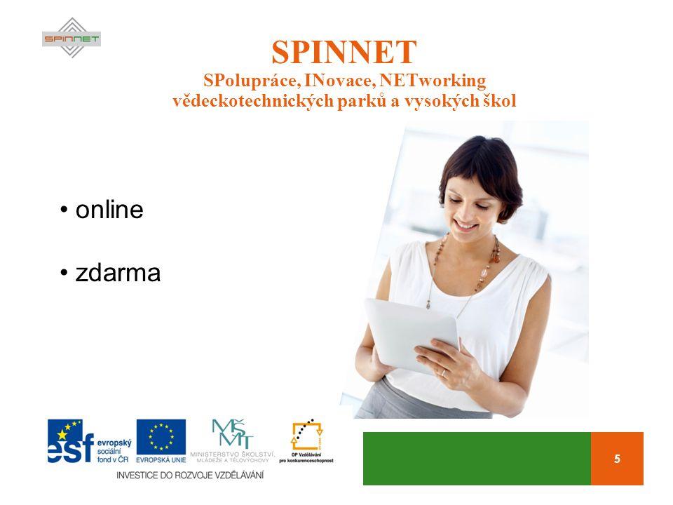 5 SPINNET SPolupráce, INovace, NETworking vědeckotechnických parků a vysokých škol online zdarma