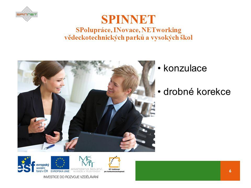 17 SPINNET SPolupráce, INovace, NETworking vědeckotechnických parků a vysokých škol Kolik.