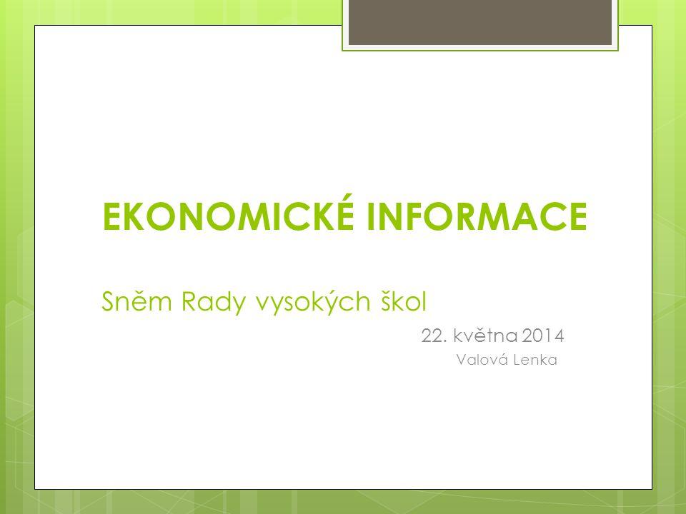 EKONOMICKÉ INFORMACE Sněm Rady vysokých škol 22. května 2014 Valová Lenka