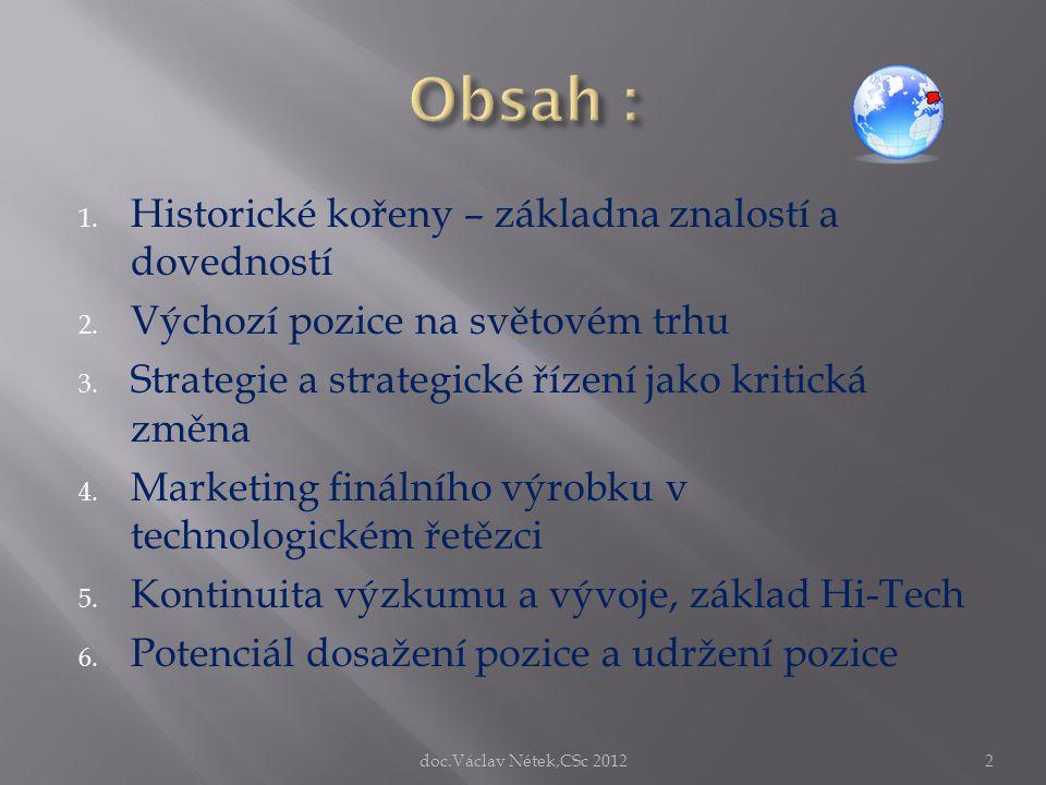 1. Historické kořeny – základna znalostí a dovedností 2. Výchozí pozice na světovém trhu 3. Strategie a strategické řízení jako kritická změna 4. Mark