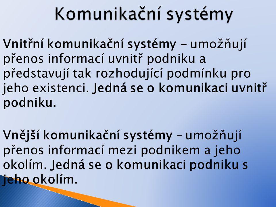 Vnitřní komunikační systémy - umožňují přenos informací uvnitř podniku a představují tak rozhodující podmínku pro jeho existenci. Jedná se o komunikac