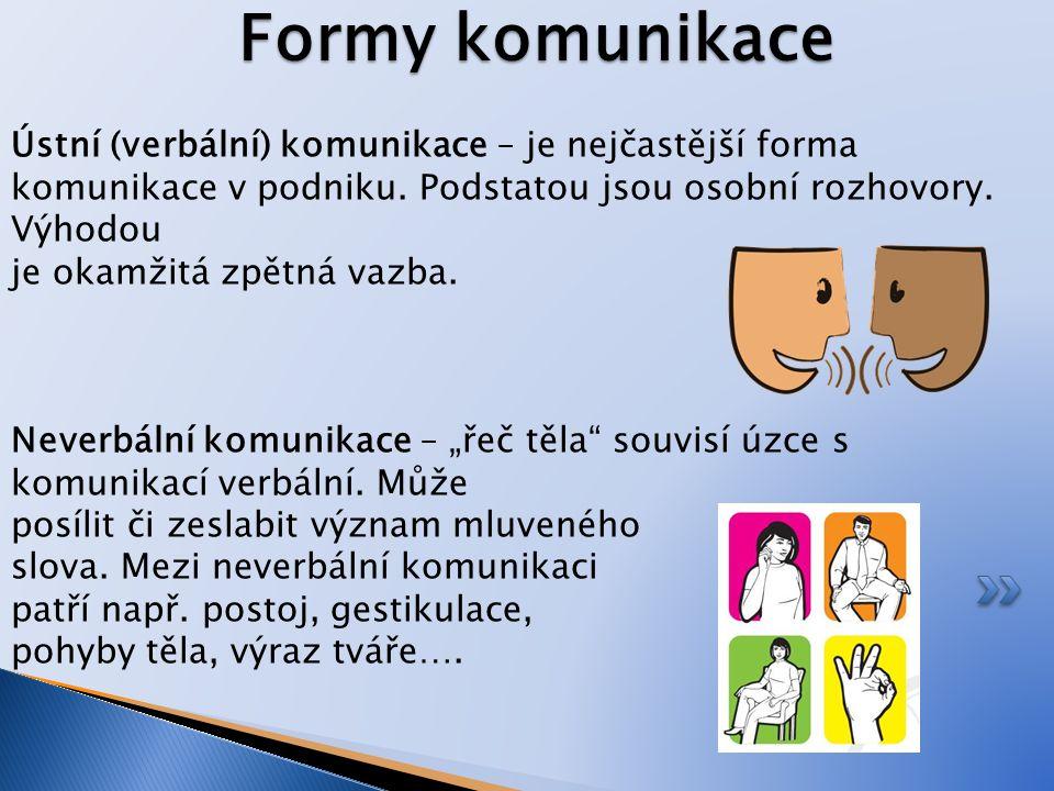 Formy komunikace Ústní (verbální) komunikace – je nejčastější forma komunikace v podniku. Podstatou jsou osobní rozhovory. Výhodou je okamžitá zpětná