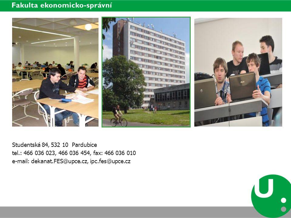 Studentská 84, 532 10 Pardubice tel.: 466 036 023, 466 036 454, fax: 466 036 010 e-mail: dekanat.FES@upce.cz, ipc.fes@upce.cz