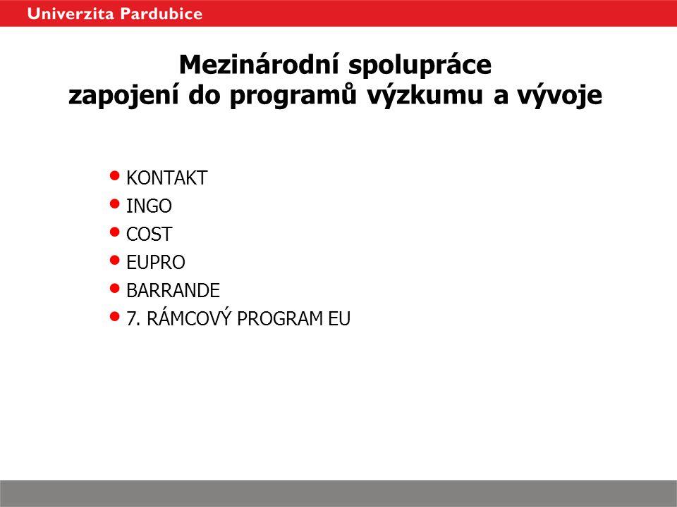 Mezinárodní spolupráce zapojení do programů výzkumu a vývoje KONTAKT INGO COST EUPRO BARRANDE 7. RÁMCOVÝ PROGRAM EU