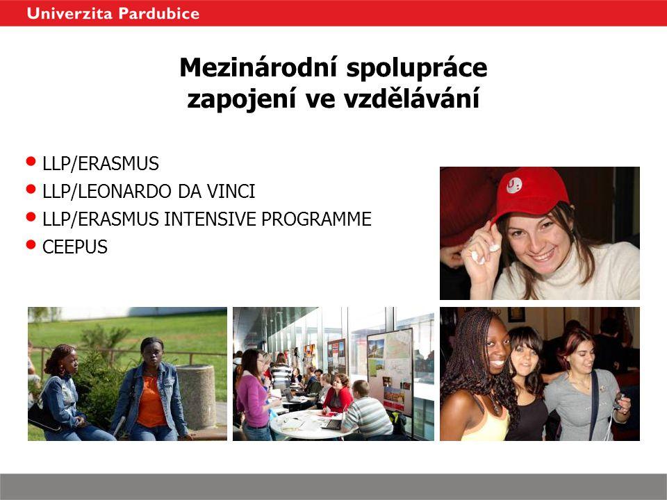 Mezinárodní spolupráce zapojení ve vzdělávání LLP/ERASMUS LLP/LEONARDO DA VINCI LLP/ERASMUS INTENSIVE PROGRAMME CEEPUS