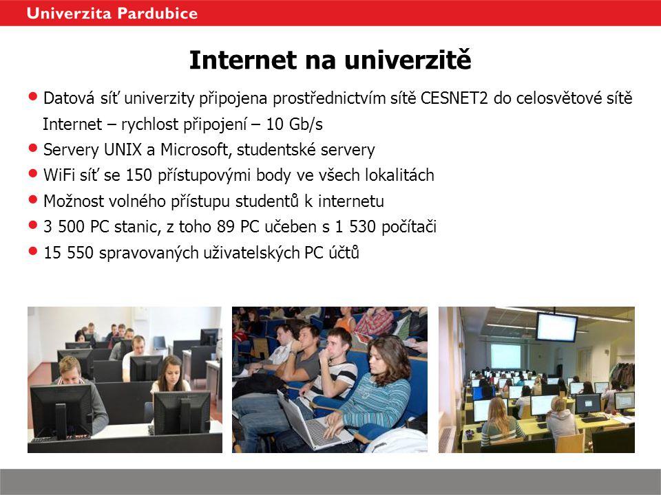 Internet na univerzitě Datová síť univerzity připojena prostřednictvím sítě CESNET2 do celosvětové sítě Internet – rychlost připojení – 10 Gb/s Server