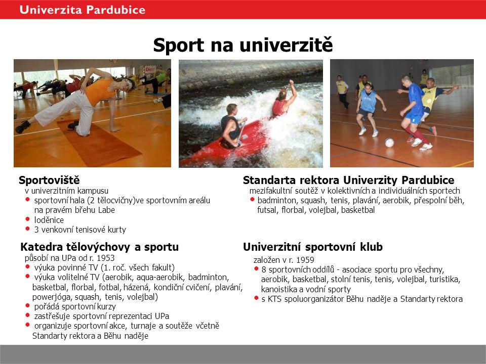 působí na UPa od r. 1953 výuka povinné TV (1. roč. všech fakult) výuka volitelné TV (aerobik, aqua-aerobik, badminton, basketbal, florbal, fotbal, ház