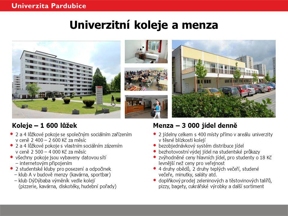 Univerzitní koleje a menza Koleje – 1 600 lůžek 2 a 4 lůžkové pokoje se společným sociálním zařízením v ceně 2 400 – 2 600 Kč za měsíc 2 a 4 lůžkové p