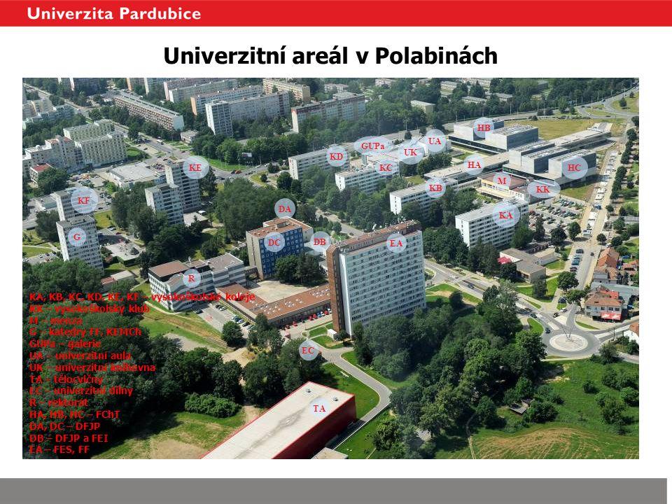 Univerzitní areál v Polabinách EA HC KD KC KB KA HB HA M KK DA DC R KE KF G EC TA UA UK DB GUPa KA, KB, KC, KD, KE, KF – vysokoškolské koleje KK – vys
