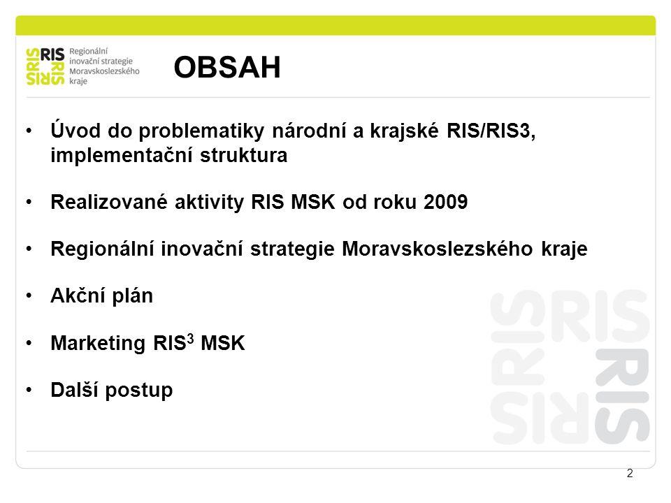 OBSAH 2 Úvod do problematiky národní a krajské RIS/RIS3, implementační struktura Realizované aktivity RIS MSK od roku 2009 Regionální inovační strateg