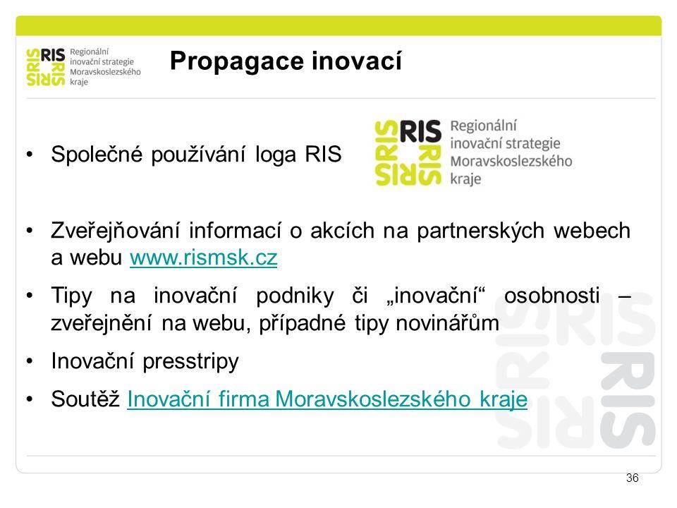 Propagace inovací 36 Společné používání loga RIS Zveřejňování informací o akcích na partnerských webech a webu www.rismsk.czwww.rismsk.cz Tipy na inov