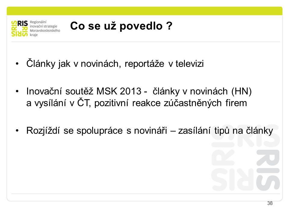 Co se už povedlo ? 38 Články jak v novinách, reportáže v televizi Inovační soutěž MSK 2013 - články v novinách (HN) a vysílání v ČT, pozitivní reakce