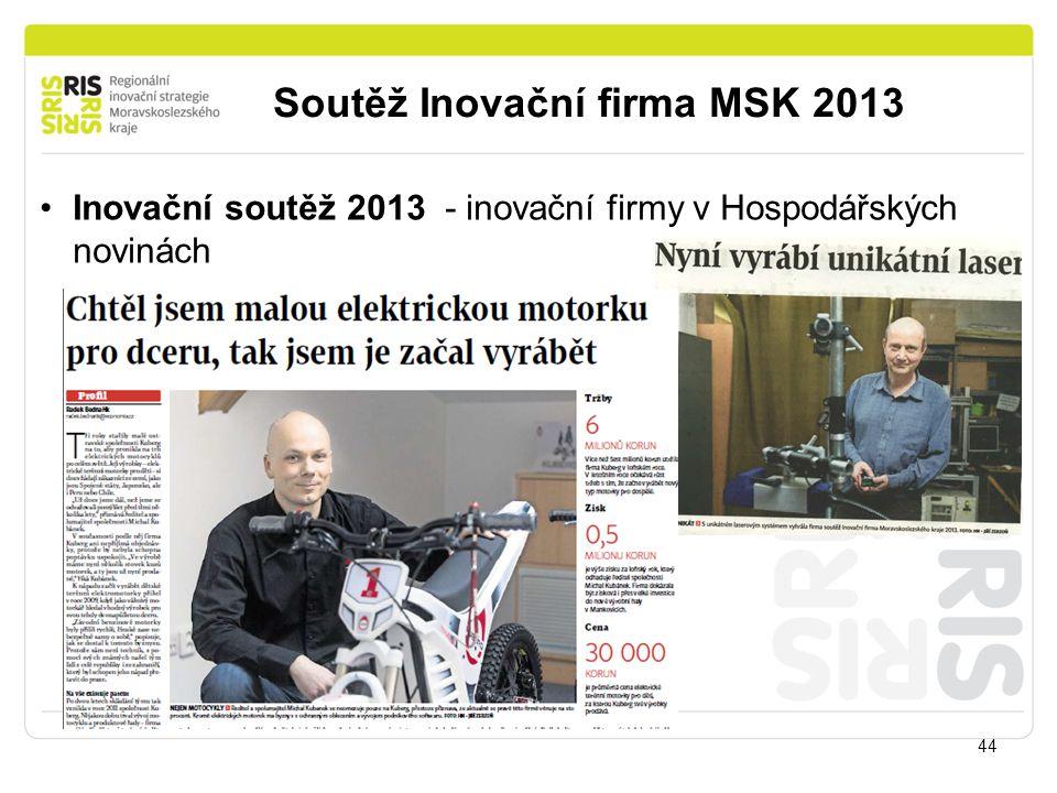 Soutěž Inovační firma MSK 2013 44 Inovační soutěž 2013 - inovační firmy v Hospodářských novinách
