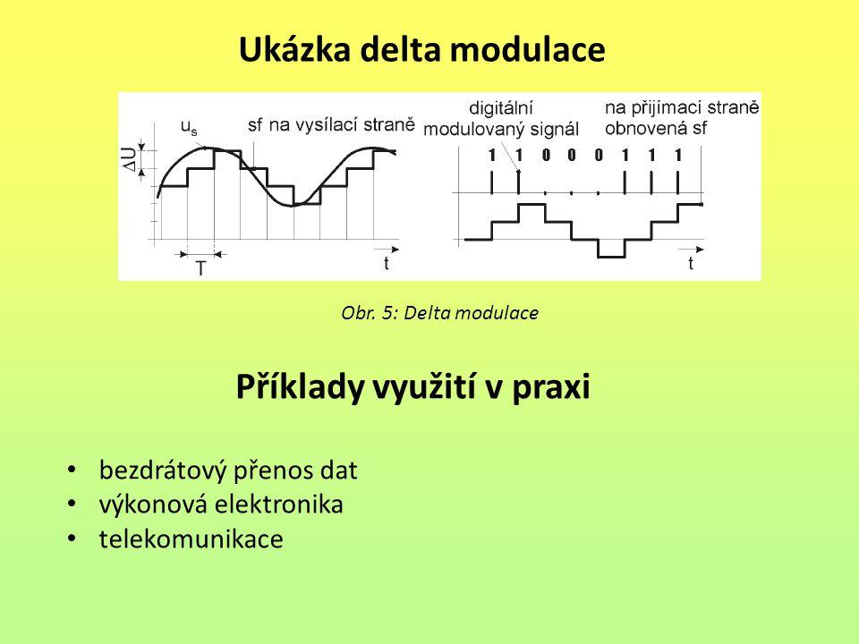 Ukázka delta modulace Obr. 5: Delta modulace Příklady využití v praxi bezdrátový přenos dat výkonová elektronika telekomunikace
