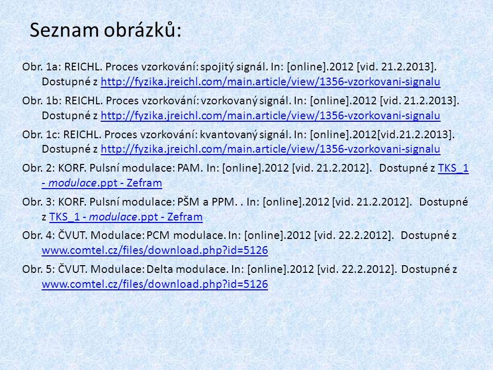 Seznam obrázků: Obr. 1a: REICHL. Proces vzorkování: spojitý signál. In: [online].2012 [vid. 21.2.2013]. Dostupné z http://fyzika.jreichl.com/main.arti