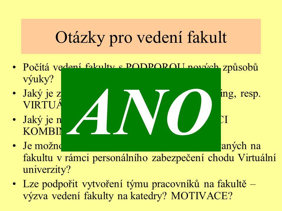 Ostrava 2001eLearning12 Otázky pro vedení fakult Počítá vedení fakulty s PODPOROU nových způsobů výuky.