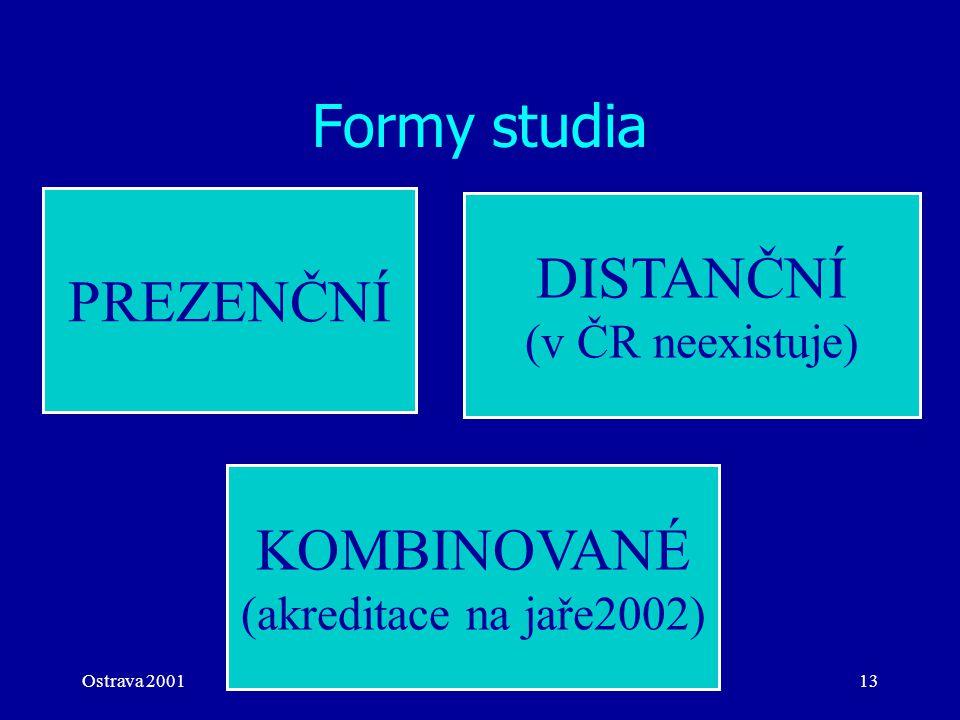 Ostrava 2001eLearning13 Formy studia PREZENČNÍ KOMBINOVANÉ (akreditace na jaře2002) DISTANČNÍ (v ČR neexistuje)
