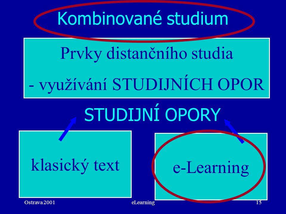 Ostrava 2001eLearning15 Kombinované studium Prvky distančního studia - využívání STUDIJNÍCH OPOR klasický text STUDIJNÍ OPORY e-Learning