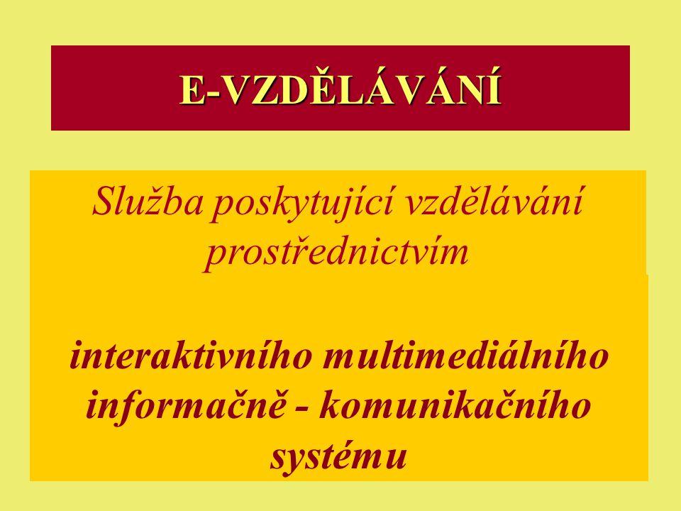 Ostrava 2001eLearning25 E-VZDĚLÁVÁNÍ Služba poskytující vzdělávání prostřednictvím interaktivního multimediálního informačně - komunikačního systému