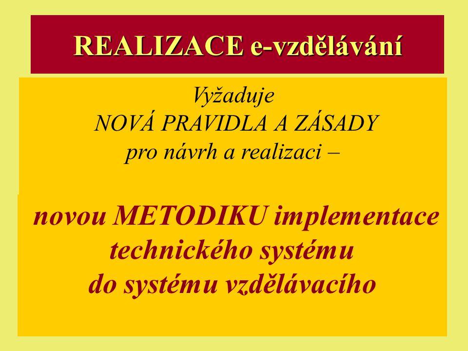Ostrava 2001eLearning26 REALIZACE e-vzdělávání Vyžaduje NOVÁ PRAVIDLA A ZÁSADY pro návrh a realizaci – novou METODIKU implementace technického systému do systému vzdělávacího