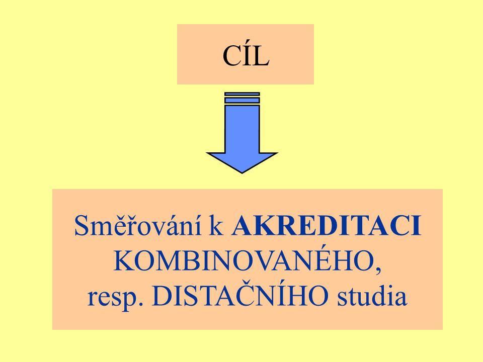 Ostrava 2001eLearning44 CÍL Směřování k AKREDITACI KOMBINOVANÉHO, resp. DISTAČNÍHO studia