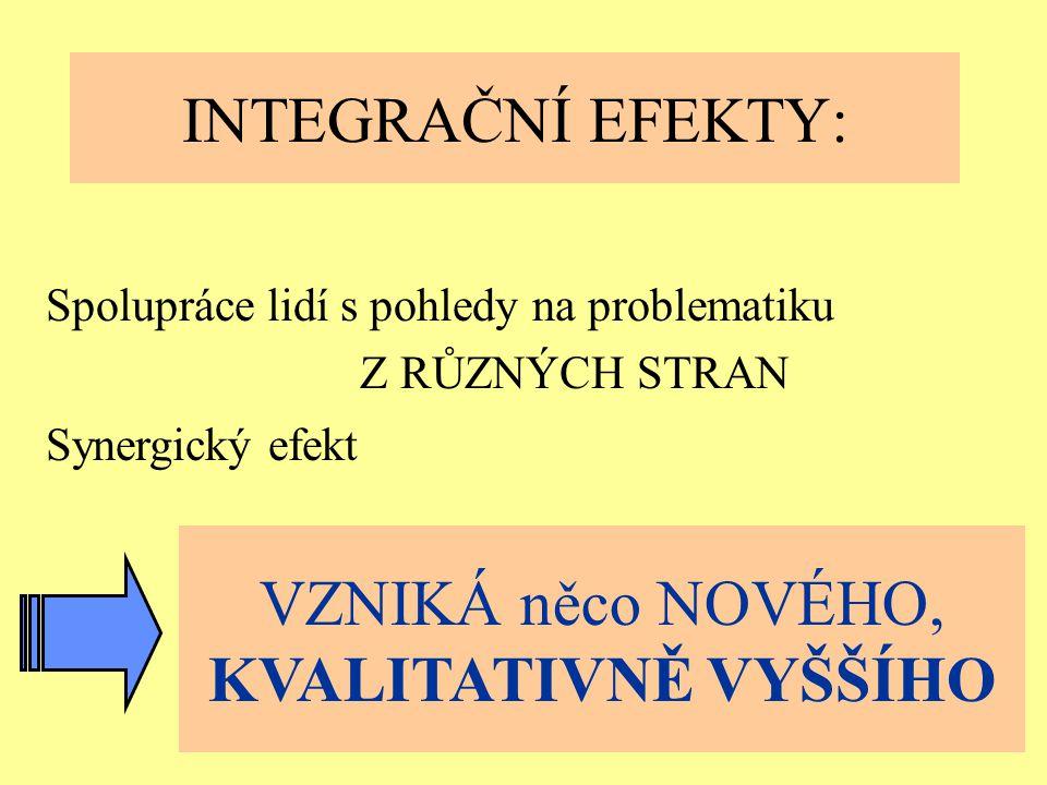 Ostrava 2001eLearning7 INTEGRAČNÍ EFEKTY: Spolupráce lidí s pohledy na problematiku Z RŮZNÝCH STRAN VZNIKÁ něco NOVÉHO, KVALITATIVNĚ VYŠŠÍHO Synergický efekt