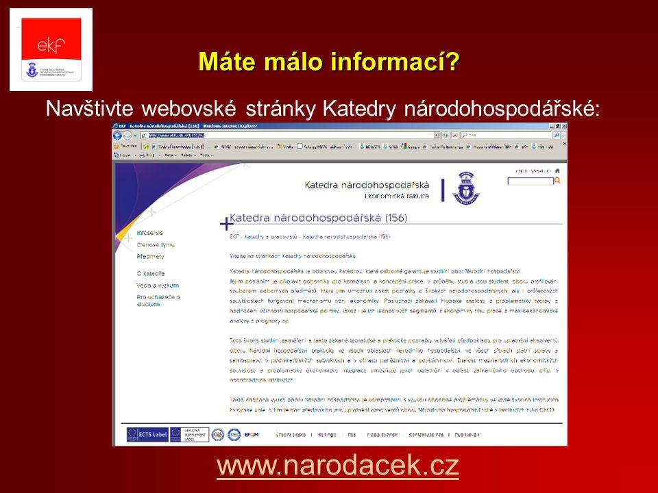 Navštivte webovské stránky Katedry národohospodářské: Máte málo informací? www.narodacek.cz