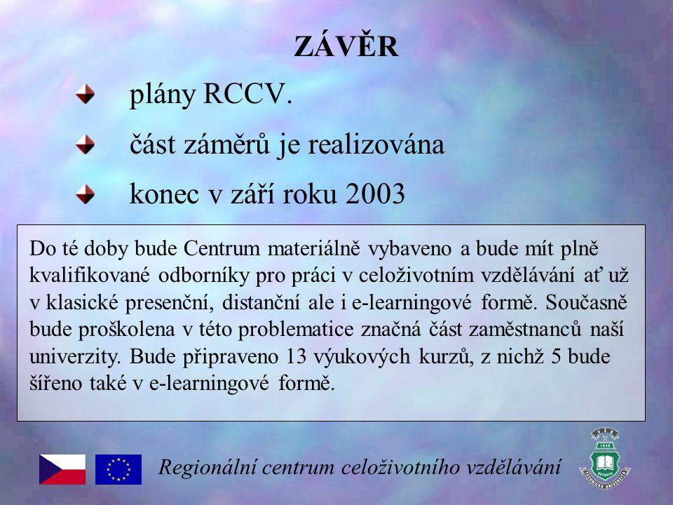 ZÁVĚR plány RCCV. část záměrů je realizována konec v září roku 2003 Regionální centrum celoživotního vzdělávání Do té doby bude Centrum materiálně vyb