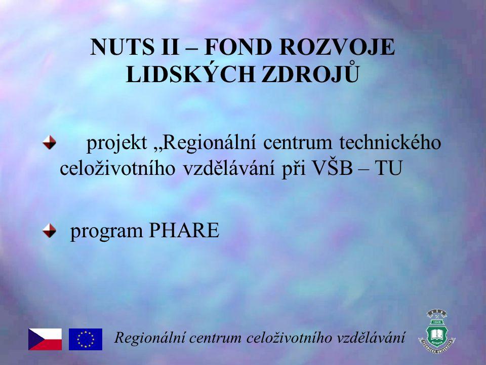 """NUTS II – FOND ROZVOJE LIDSKÝCH ZDROJŮ projekt """"Regionální centrum technického celoživotního vzdělávání při VŠB – TU program PHARE Regionální centrum"""
