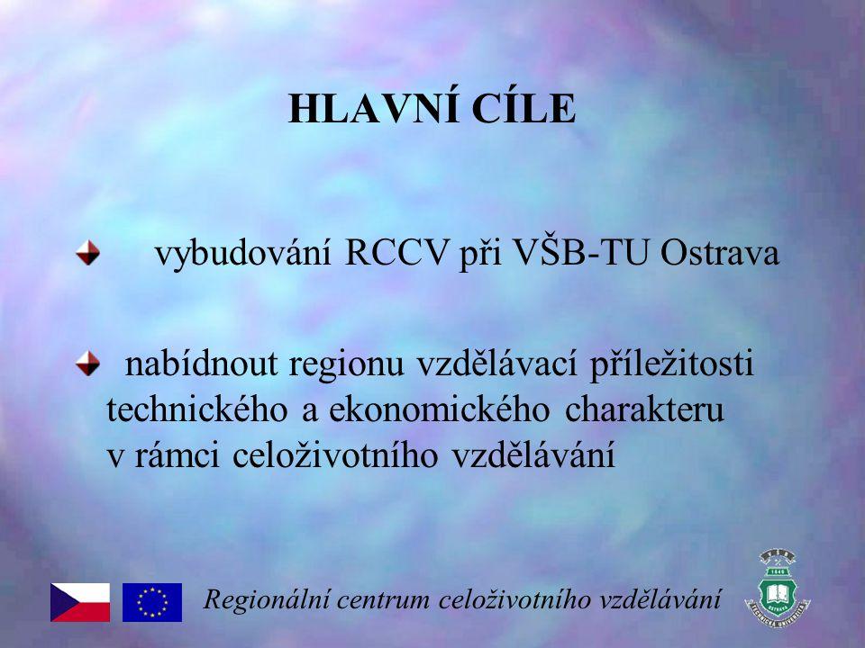 HLAVNÍ CÍLE vybudování RCCV při VŠB-TU Ostrava nabídnout regionu vzdělávací příležitosti technického a ekonomického charakteru v rámci celoživotního v