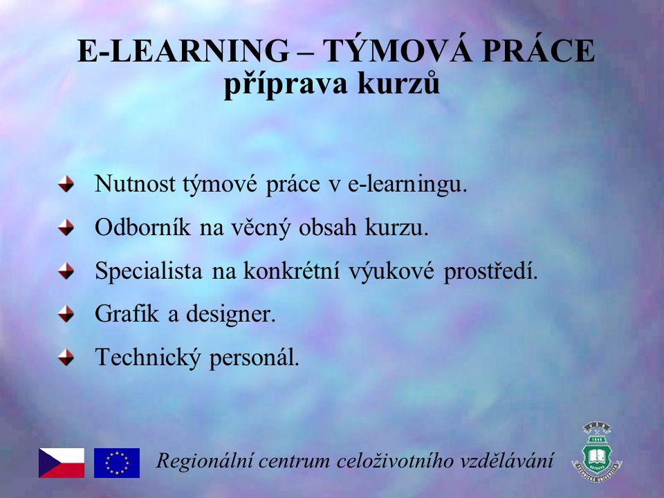 E-LEARNING – TÝMOVÁ PRÁCE příprava kurzů Nutnost týmové práce v e-learningu. Odborník na věcný obsah kurzu. Specialista na konkrétní výukové prostředí