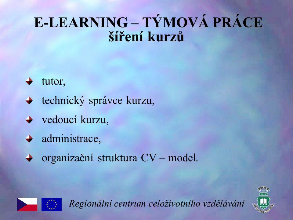 E-LEARNING – TÝMOVÁ PRÁCE šíření kurzů tutor, technický správce kurzu, vedoucí kurzu, administrace, organizační struktura CV – model. Regionální centr