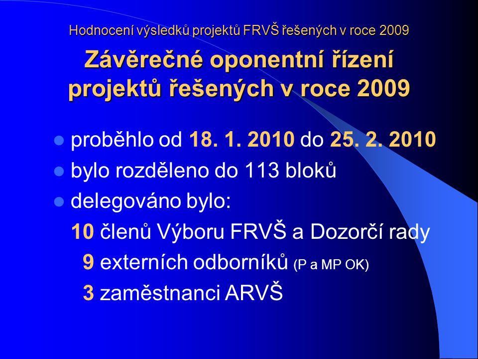 Hodnocení výsledků projektů FRVŠ řešených v roce 2009 Výsledky bylo zhodnoceno celkem 926 projektů splněno bylo 907 projektů (97,9 %) 3 projekty (0,3 %) byly splněny s věcnou výhradou 15 projektů (1,6 %) bylo splněno s výhradou k hospodaření s dotací 1 projekt byl hodnocen jako nesplněný