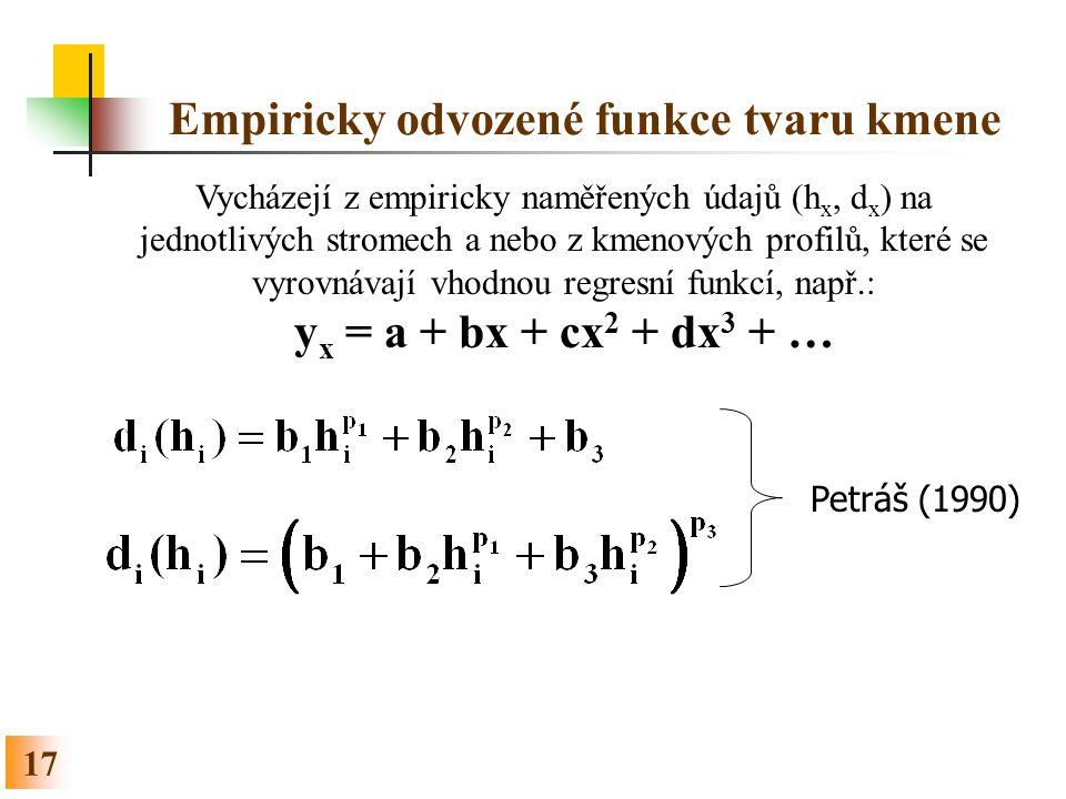 17 Empiricky odvozené funkce tvaru kmene Vycházejí z empiricky naměřených údajů (h x, d x ) na jednotlivých stromech a nebo z kmenových profilů, které