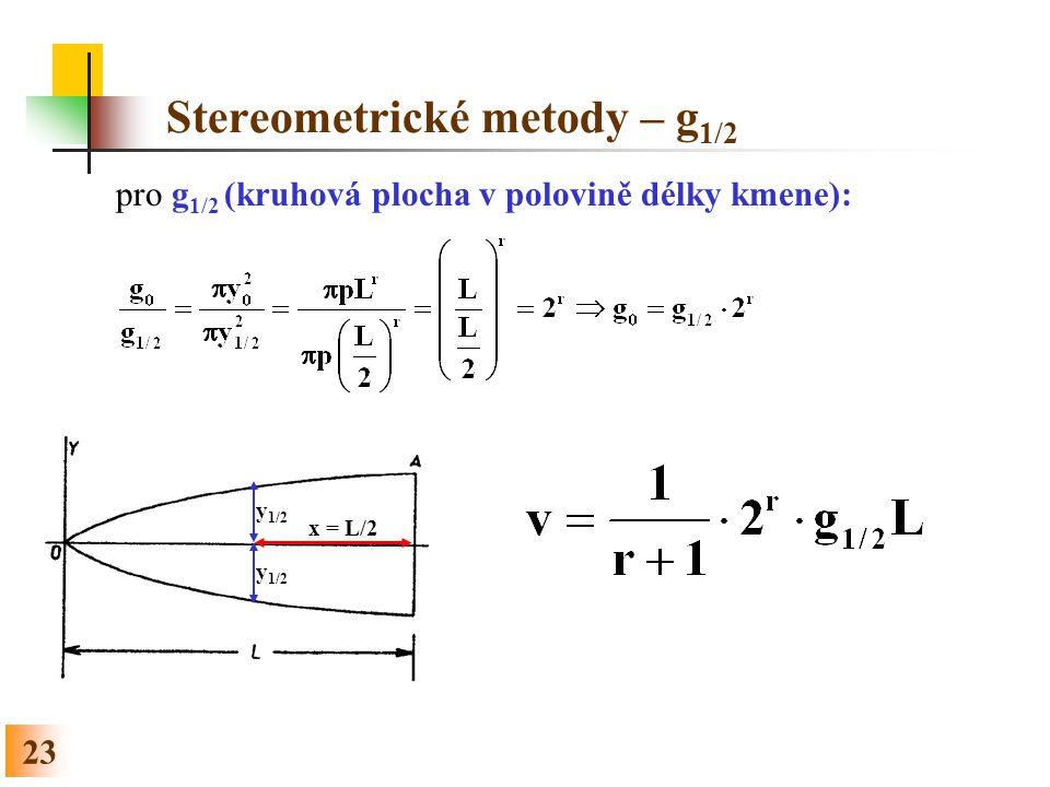 23 Stereometrické metody – g 1/2 pro g 1/2 (kruhová plocha v polovině délky kmene): y 1/2 x = L/2