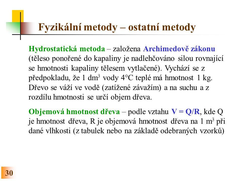 30 Fyzikální metody – ostatní metody Hydrostatická metoda – založena Archimedově zákonu (těleso ponořené do kapaliny je nadlehčováno silou rovnající s
