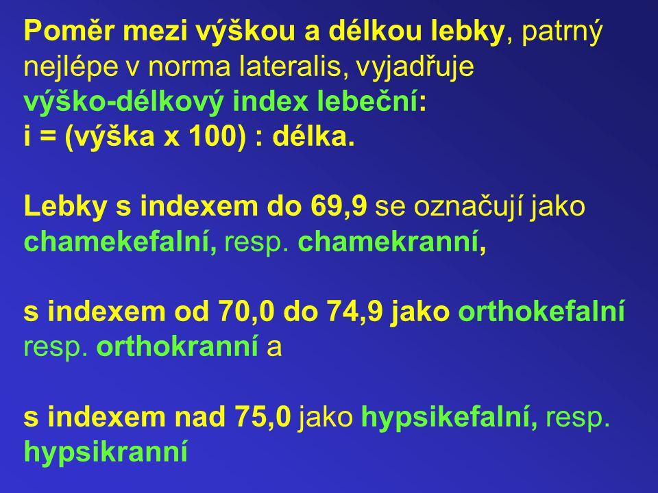 Poměr mezi výškou a délkou lebky, patrný nejlépe v norma lateralis, vyjadřuje výško-délkový index lebeční: i = (výška x 100) : délka.