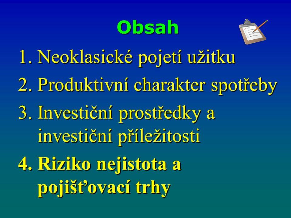 Obsah 1.Neoklasické pojetí užitku 2.Produktivní charakter spotřeby 3.Investiční prostředky a investiční příležitosti 4.Riziko nejistota a pojišťovací
