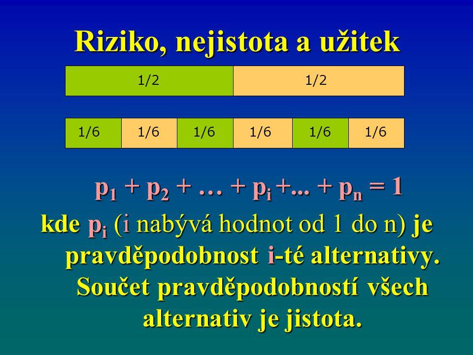 Riziko, nejistota a užitek p 1 + p 2 + … + p i +... + p n = 1 p 1 + p 2 + … + p i +... + p n = 1 kde p i (i nabývá hodnot od 1 do n) je pravděpodobnos