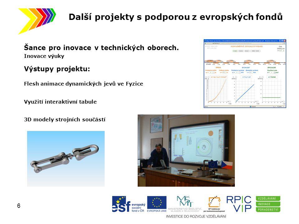 Další projekty s podporou z evropských fondů Šance pro inovace v technických oborech. Inovace výuky Výstupy projektu: Flesh animace dynamických jevů v
